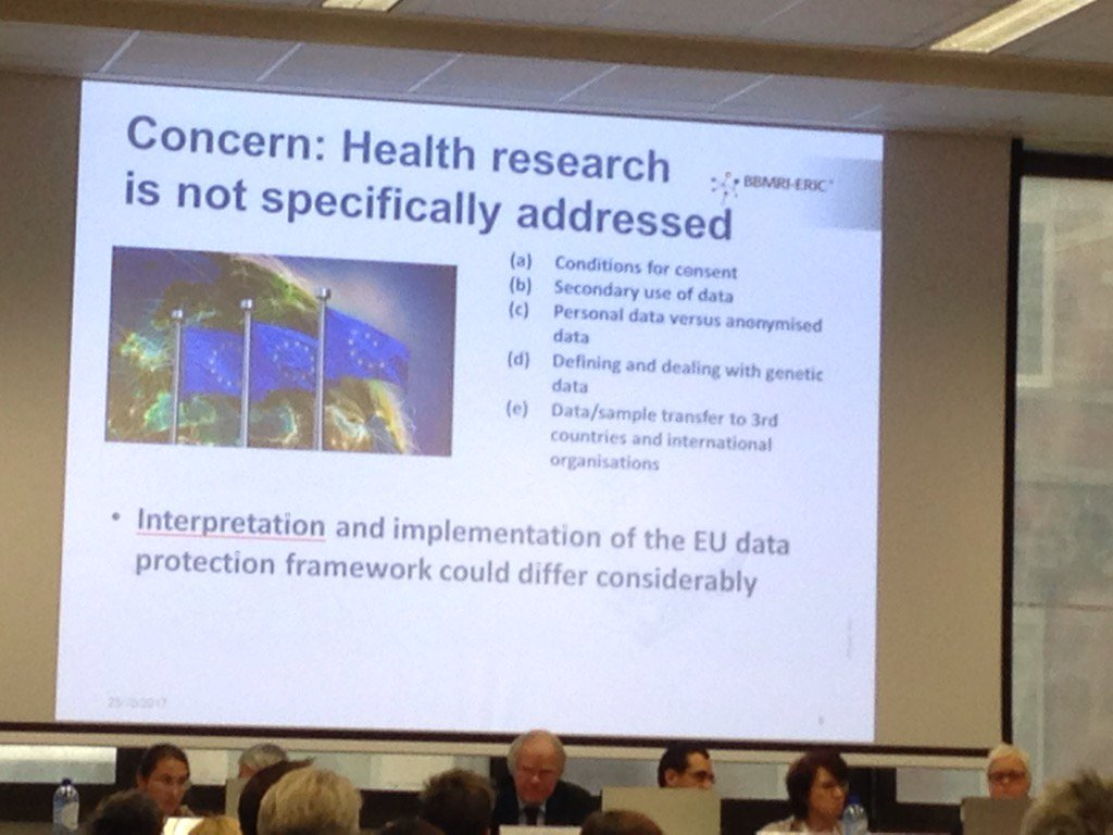 Interesting presentation from @BBMRIERIC on effects of #GDPR on #ehealth to show where researchers stand.<br>http://pic.twitter.com/G2a7tkpJNB