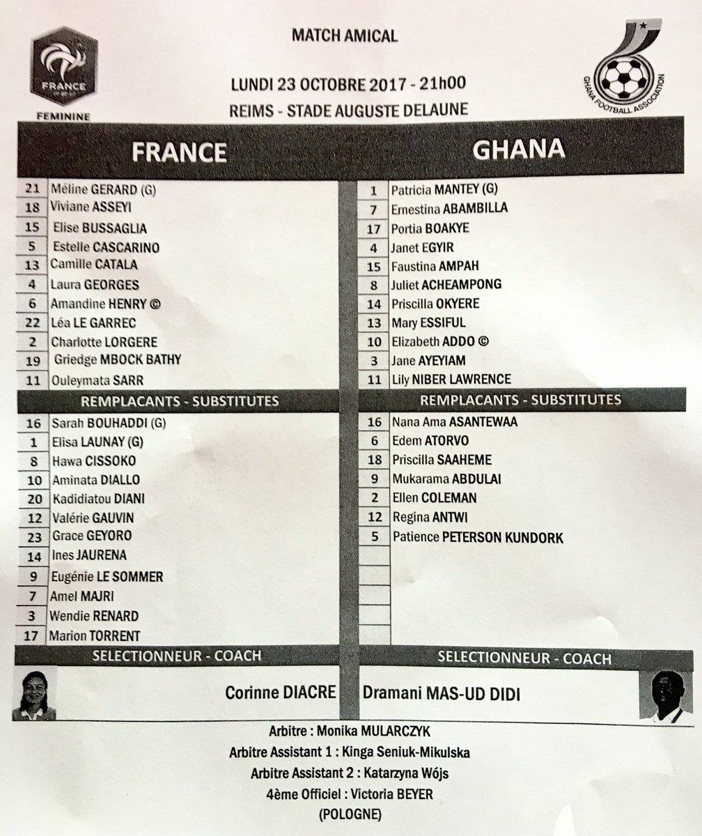 La feuille de match de ce France - Ghana ! Dès 21H00 sur @CStar #FRAGH...