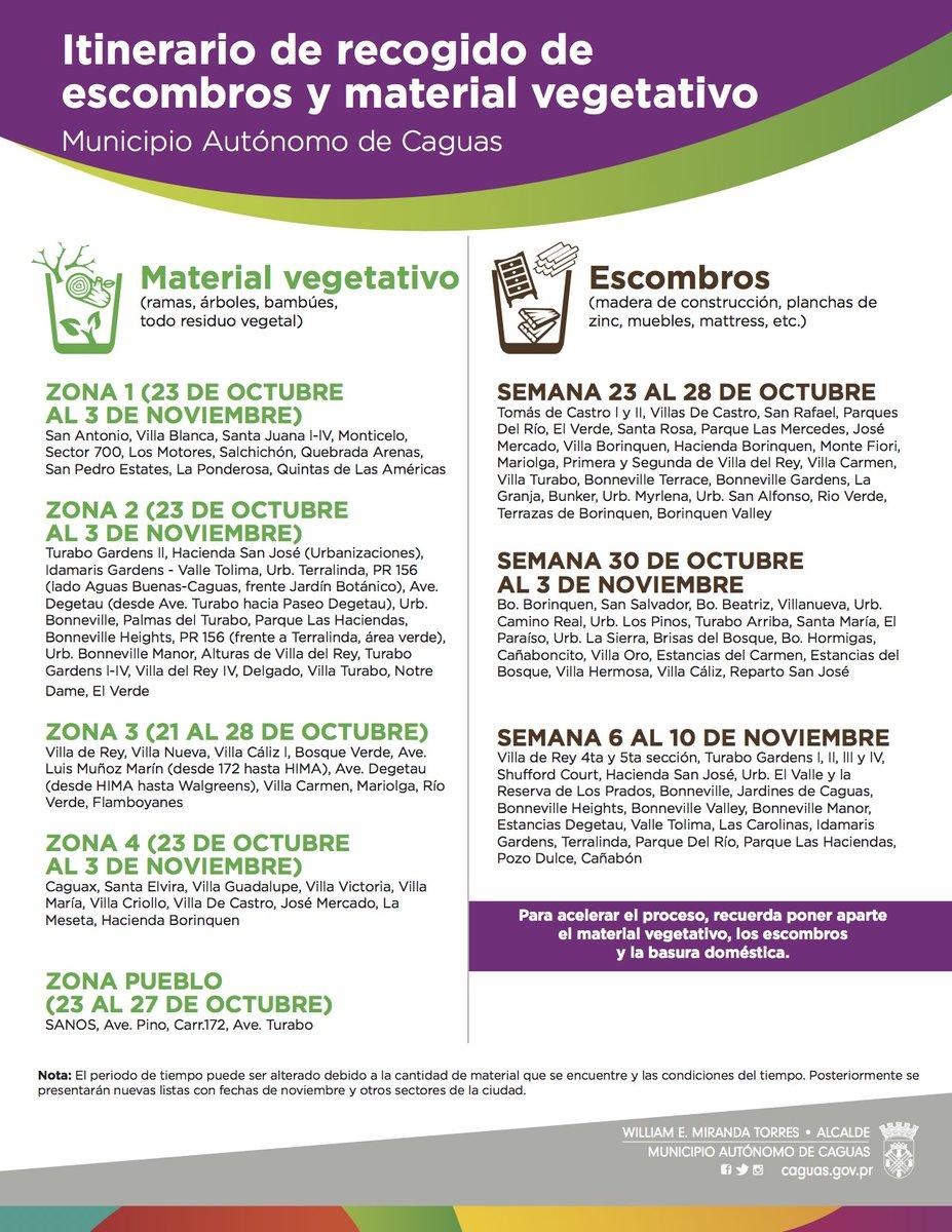 Caguas On Twitter Itinerario De Recogido De Escombros Y
