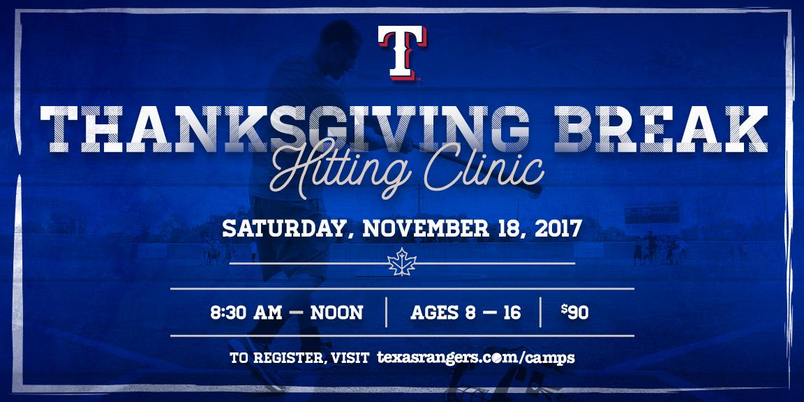 Before you hit the turkey, hit the ⚾️.  Players (ages 8-16) can sign up for our Thanksgiving Break hitting clinic! https://t.co/R4bTTZMPQD