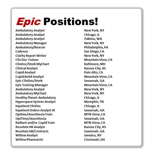 Epic Certified Jobs EpicJobsEMR
