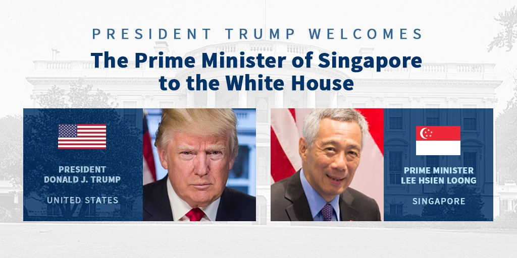 Today, President Trump will welcome Prime Minister Lee Hsien Loong of Singapore to the White House. https://t.co/hP7XZsHhgl