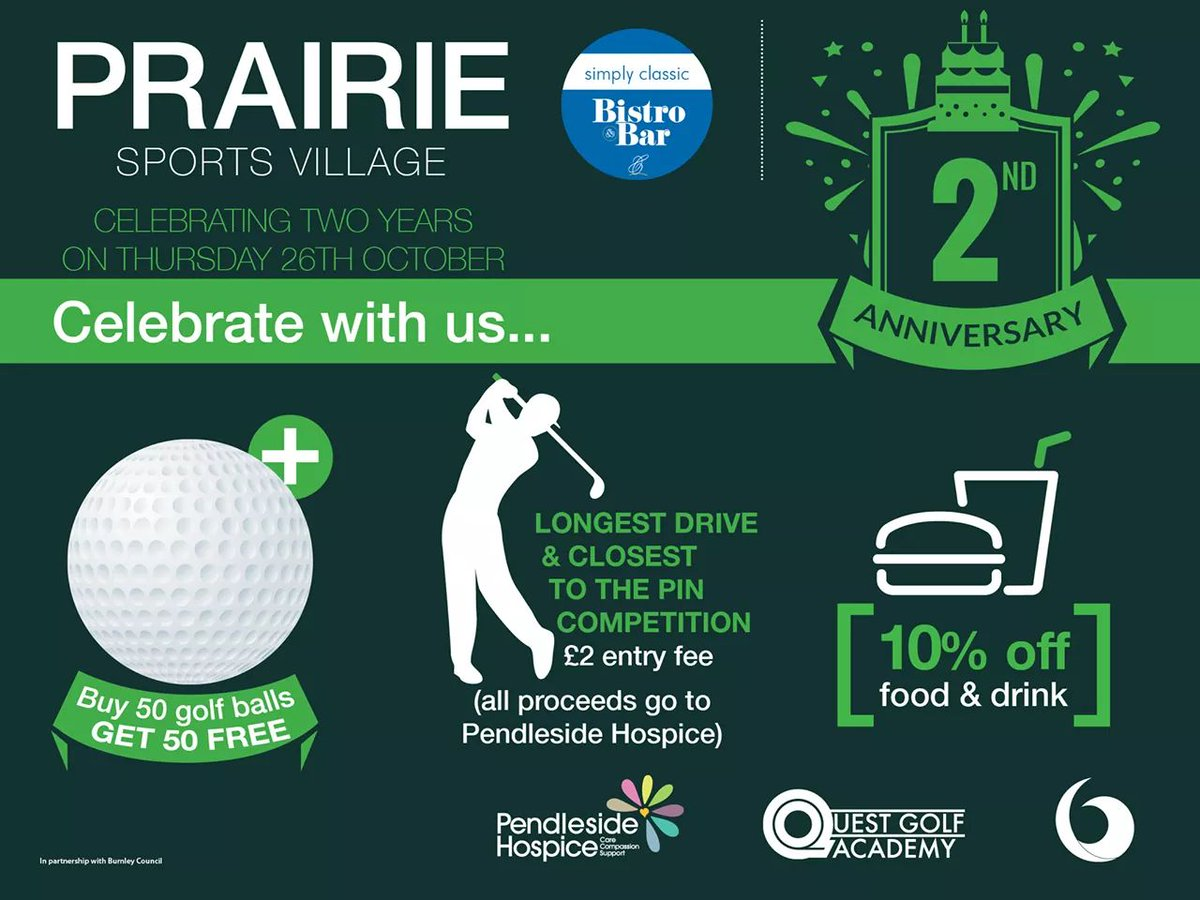 Join us on Thursday as we celebrate our 2nd birthday  #Golf #bistro #food #drivingrange #football #3gpitch @RickShielsPGA @PeterFinchGolf<br>http://pic.twitter.com/q1vP2TEWOd