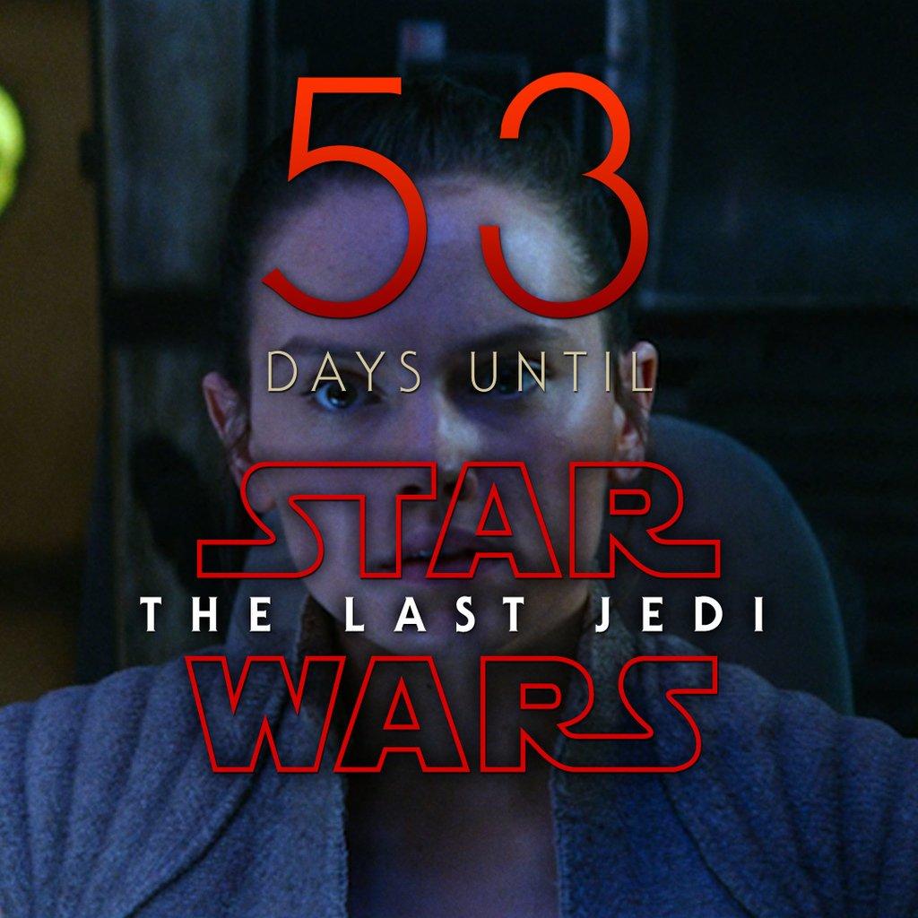 53 days until Star Wars: The Last Jedi #StarWars #LastJedi #EpisodeVIII<br>http://pic.twitter.com/r1oxrXiMRM