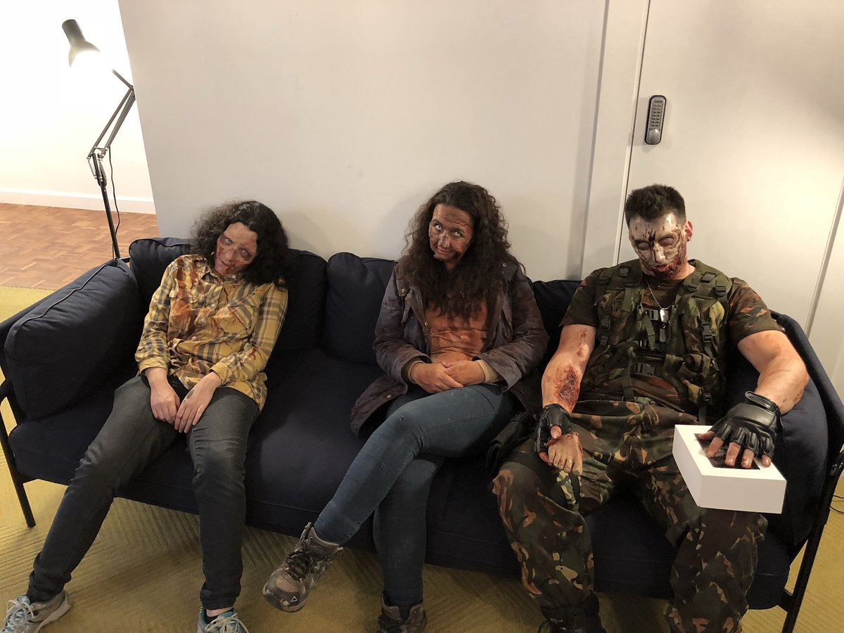 Zombies in reception for #thewalkingdeaduk. They brought cupcakes, so...