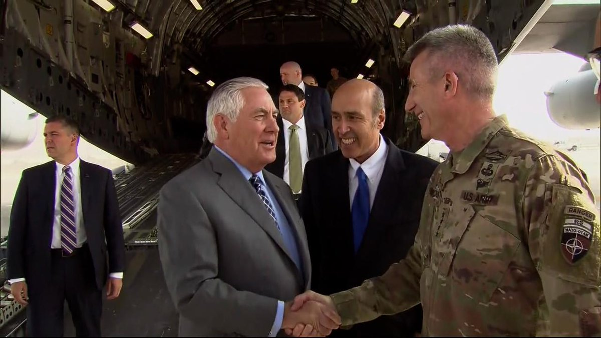 Earlier today, Secretary Tillerson arrived at Bagram Air Base before meeting with #Afghanistan's President @AshrafGhani and CEO Abdullah.