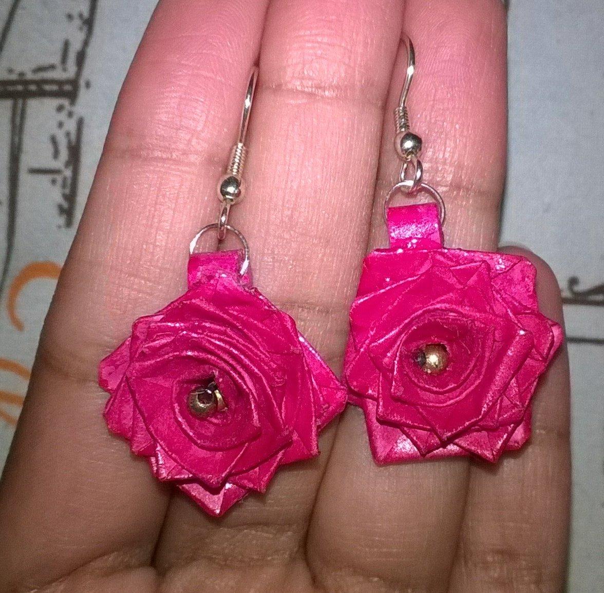 Meena Arts On Twitter Paper Quilling Rose Earrings Handmade