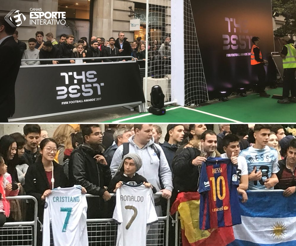 Tudo pronto para o prêmio de Melhor do Mundo da @FIFAcom e a torcida tá dividida! @Cristiano, Messi ou @neymarjr, quem leva essa?