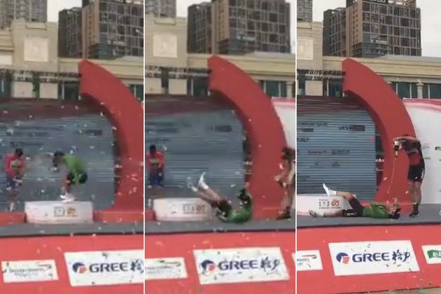 Watch: BMC Racing rider takes a tumble off the side of podium (video)...
