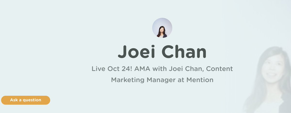 Live tomorrow! Ask me ANYTHING at my @GrowthHackers AMA  https:// growthhackers.com/amas/joei-chan -content-marketing-manager-mention &nbsp; …  #contentmarketing #GrowthHacking #inboundmarketing <br>http://pic.twitter.com/fcLhdfTA3O