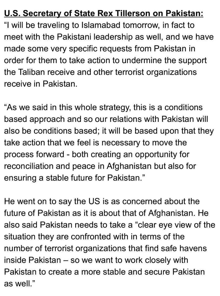 #Tillerson is coming to Pakistan waving 'conditions-based policy'. Next he will be in India the same time Ashraf Ghani will be there. <br>http://pic.twitter.com/h131Cqvo3g