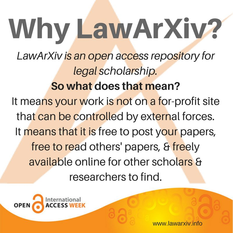 For #openaccessweek we&#39;ll be sharing more about LawArXiv. Check in with us all week! <br>http://pic.twitter.com/mJkzAmJxLN