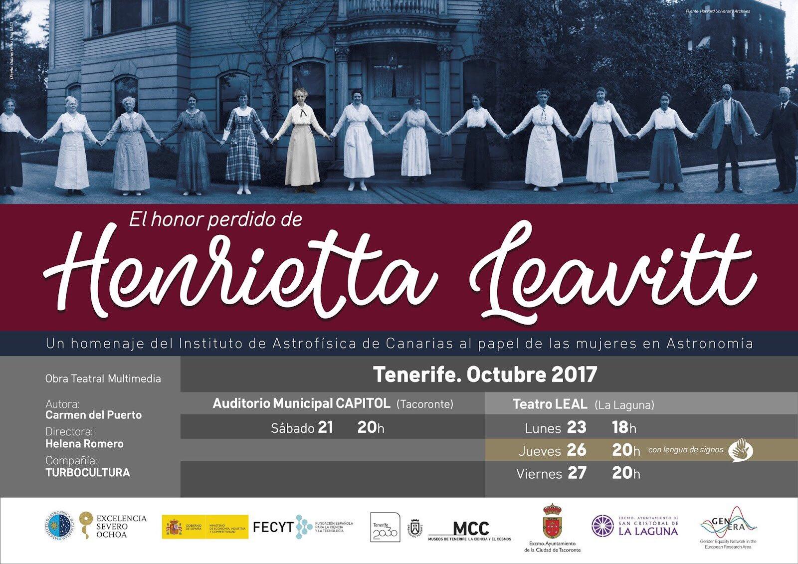 """""""El honor perdido de HENRIETTA LEVAITT"""" - Teatro con LSE el 26 oct., en Tenerife. DM1ppqHXUAE5e63"""