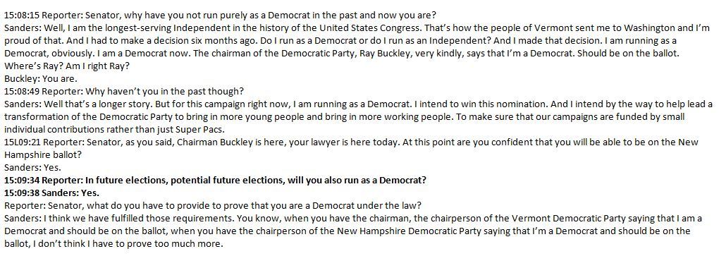 For those interested, here's the moment back in Nov. '15 when Bernie Sanders told reporters in NH that he'd run as a Dem in future elections