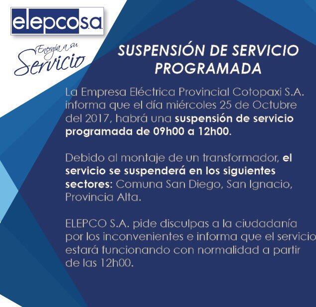 RT @elepcosa: ⛔️Atención Salcedo❗️ Suspensión de Servicio Programada para este miércoles 25 de Octubre 👇🏻👇🏻 https://t.co/ZbiX06CDKl