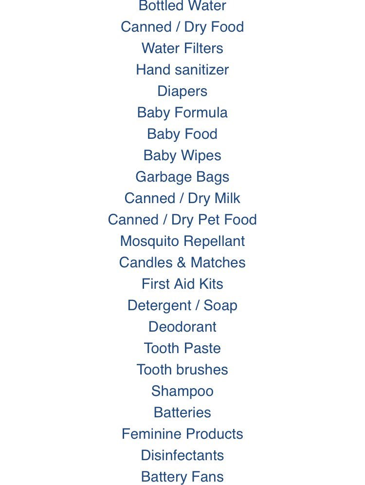 Donate to the CoE hurricane relief drive to help those affected by hurricane Maria! Help us make an #impact, we need the following items! <br>http://pic.twitter.com/9645PtlA3P