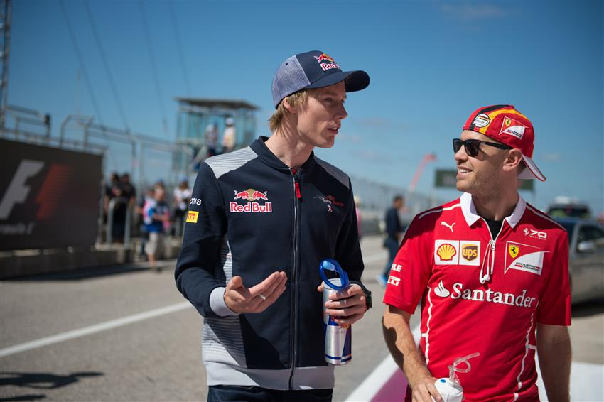 Sebastian Vettel with Brendon Hartley during the drivers parade, yesterday at COTA.   #USGP  #F1 #Seb5<br>http://pic.twitter.com/OCyKgixKrP