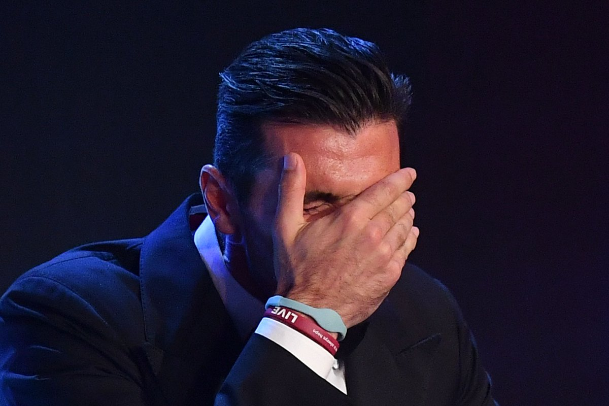 Gianluigi Buffon struggles to hold it together after collecting his Th...