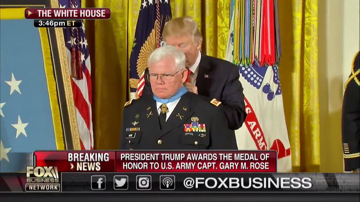 WATCH: @POTUS awards Medal of Honor to @USArmy Captain Gary M. Rose ht...