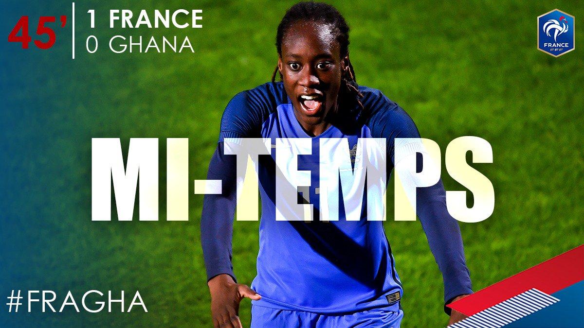 C'est la mi-temps à Auguste Delaune ! 1-0 pour nos Bleues face au Ghan...