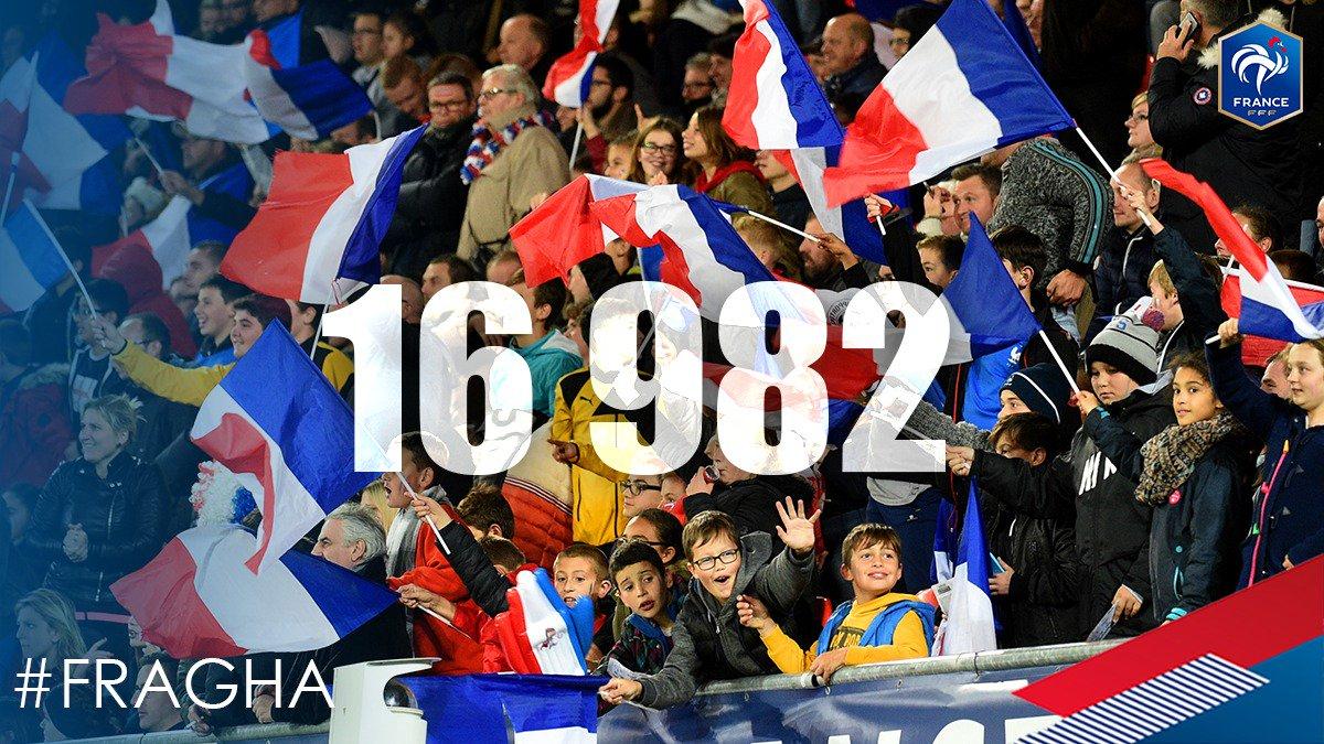 16 982 spectateurs à Auguste Delaune pour encourager nos Bleues ! #FRA...