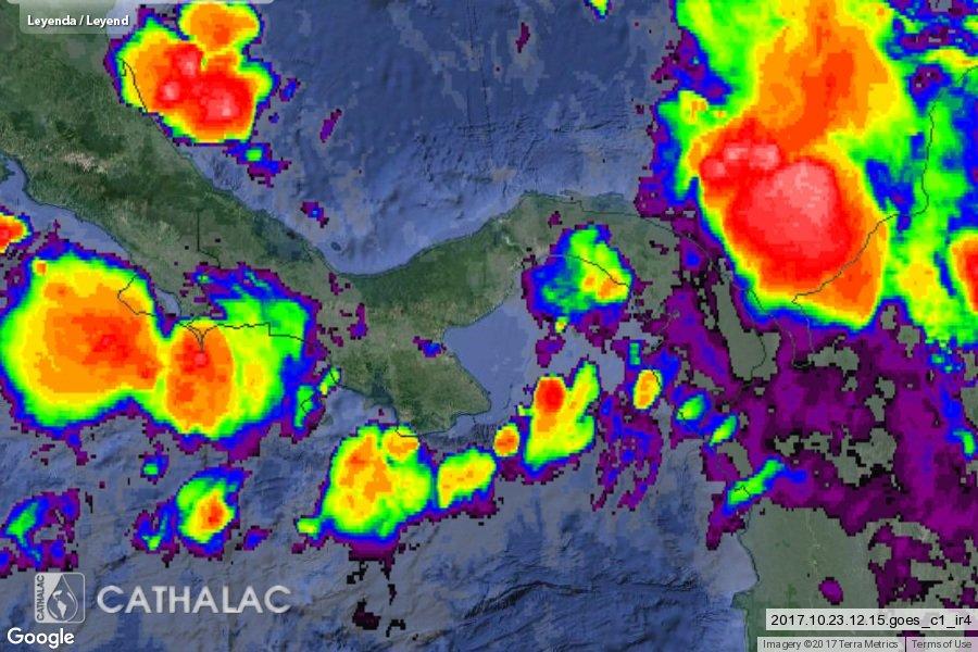 Imagen actualizada de satélite GOES infrarrojo para Panamá y Costa Ric...