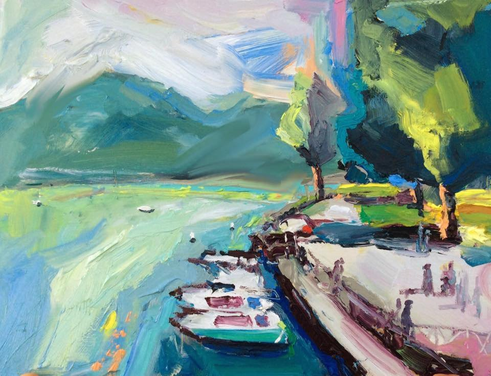 """afternoon harbour at Annecy"" 30X40, oil on board #annecy #france #artcollector #oilpainting<br>http://pic.twitter.com/sBuUyKGNOX"