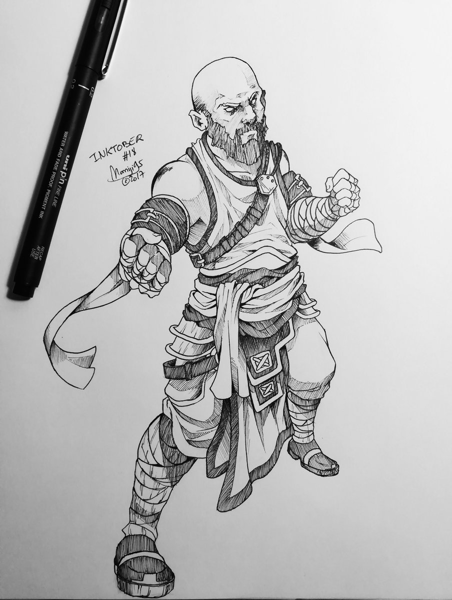 #inktober2017 #18 I&#39;m doing the #rpg version so the theme is #fighter ! #Inktober #momiji95 #pencil #ink #drawing #challenge #october<br>http://pic.twitter.com/QEUI4PceH9