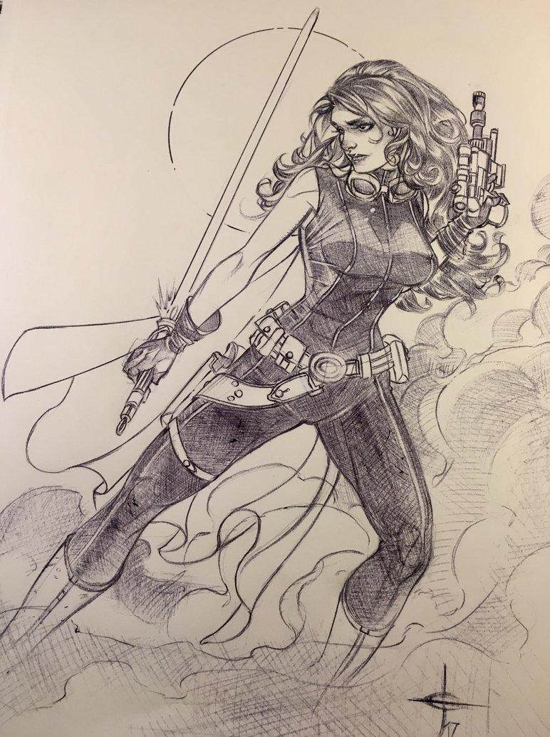 Mara Jade Ballpoint Pen Sketch by Drew Edward Johnson #MaraJadeMonday #StarWars <br>http://pic.twitter.com/hS0Ks7Y9as