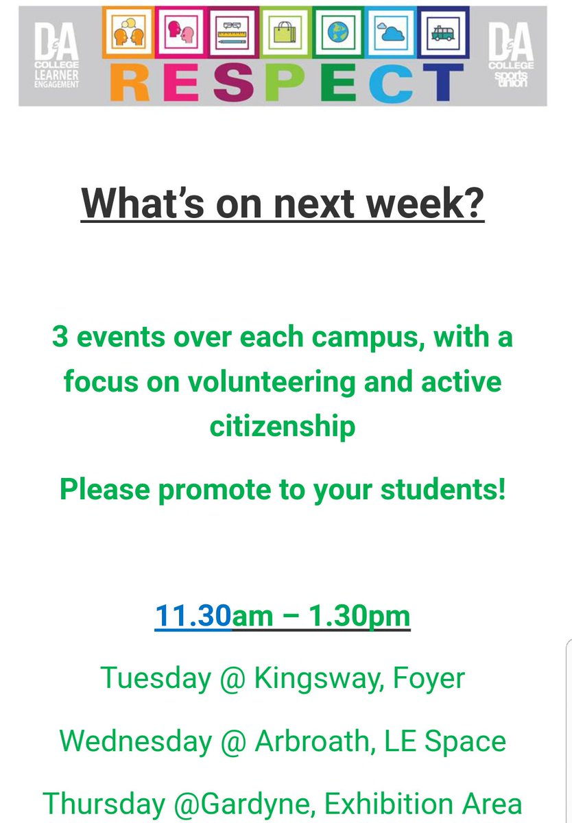 Our fantastic @dundee_angus #RESPECT week starts this week with many events happening across all campuses #morethanjustacollege<br>http://pic.twitter.com/howEytw402