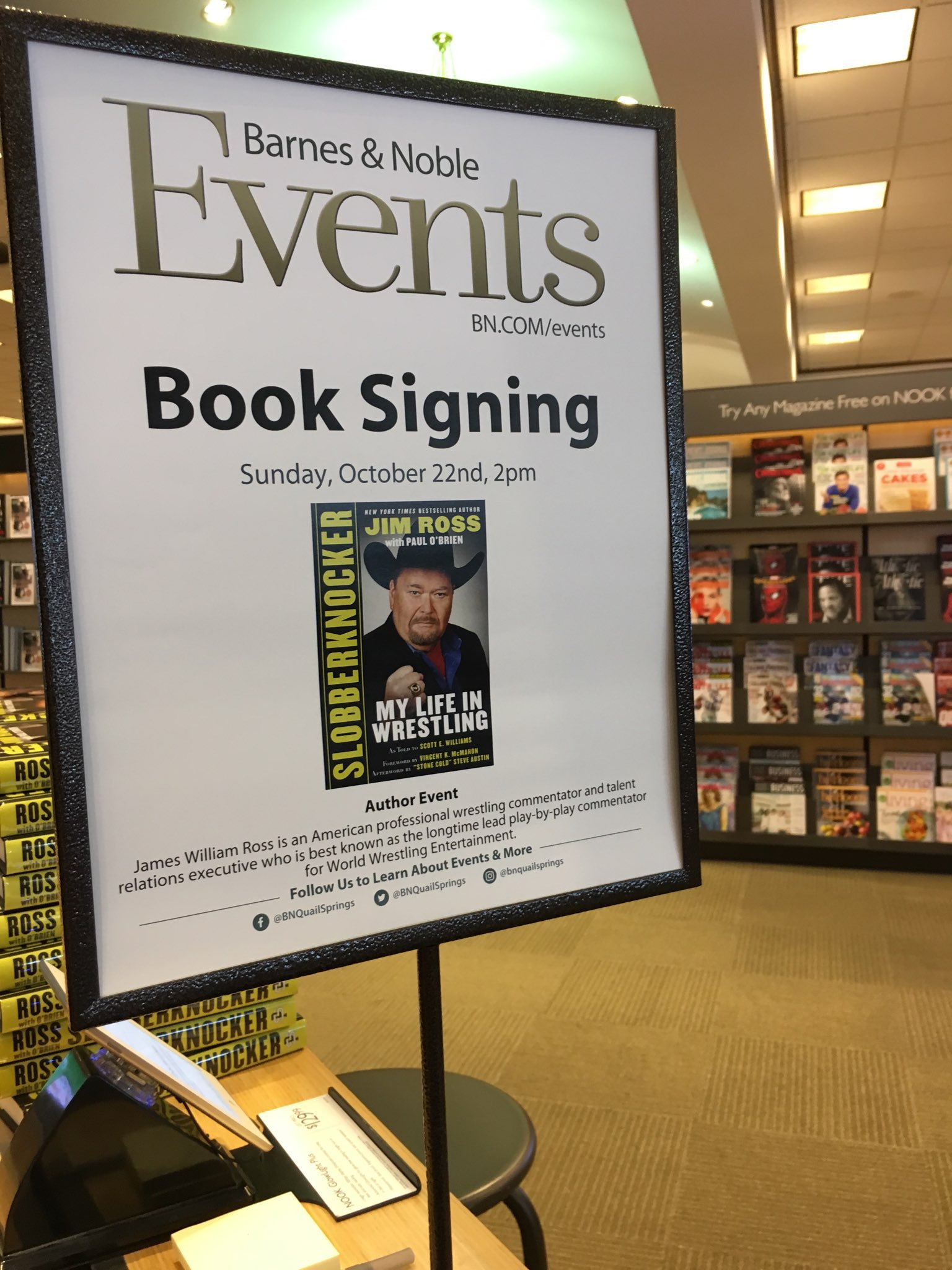 Jim Ross on Twitter Thx Barnes Noble OKC for being amazing