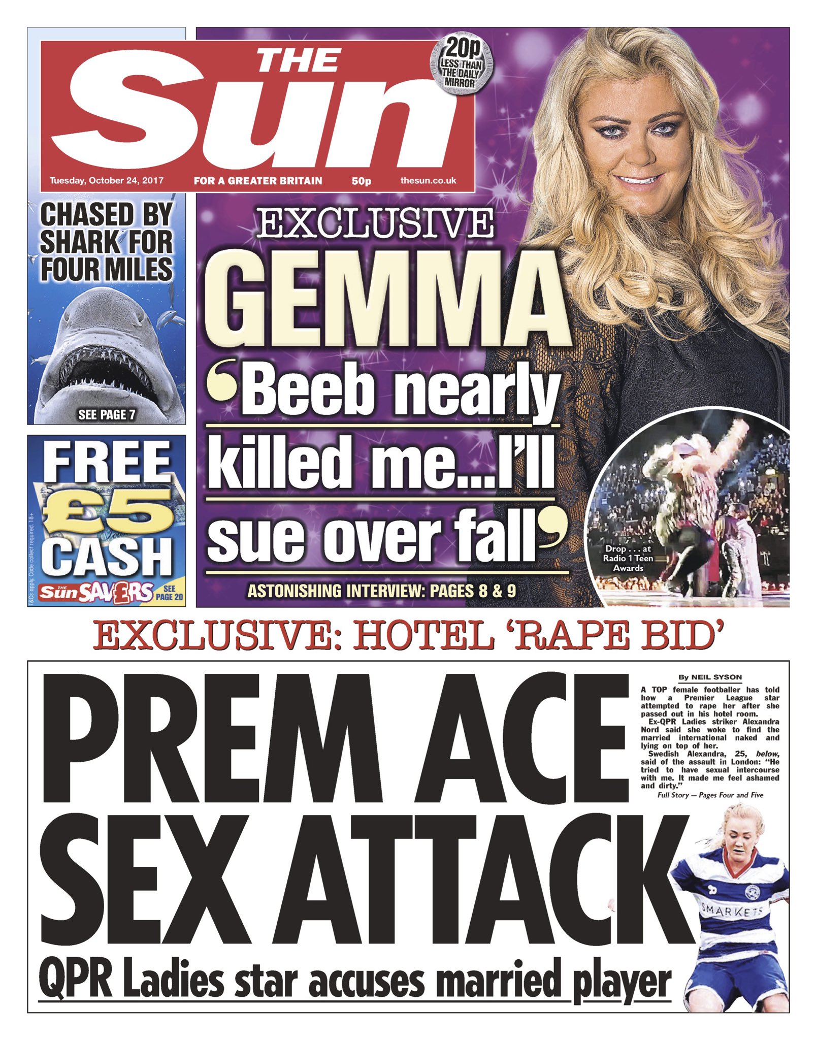 "RT @AllieHBNews: Tuesday's SUN: ""Prem Ace Sex Attack"" #bbcpapers #tomorrowspaperstoday https://t.co/6UKCemG1N0"