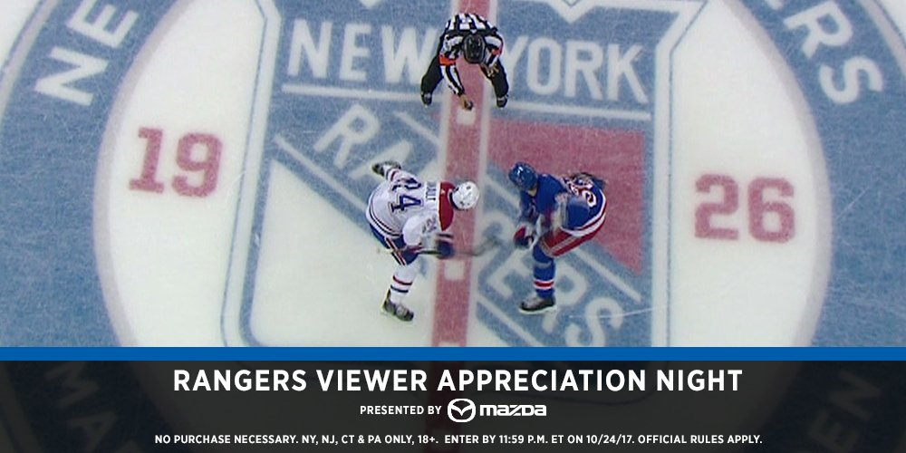 RT this tweet and you could win two (2) lower bowl tickets to the 11/19 game vs Ottawa.  Watch the  on MSG!