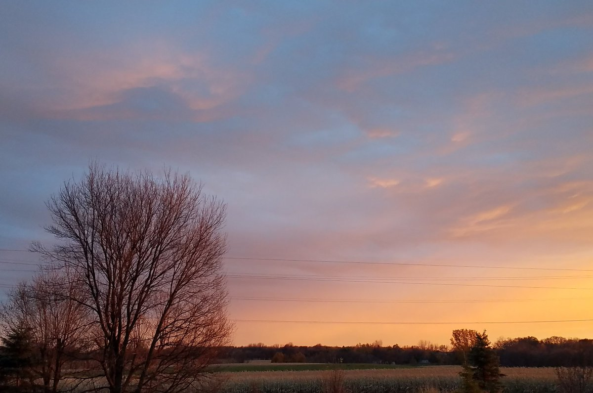 Graceful #sunset over the cornfield following a very windy,  grey afternoon in #CorcoranMN.  #ruralskies