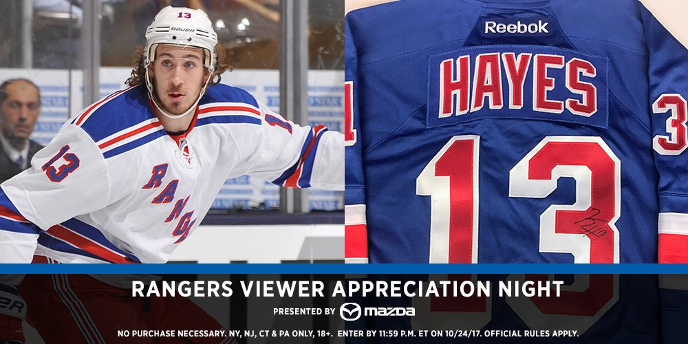 A @KevinPHayes12 signed jersey? Say no more…  RT and keep your eyes glued to #NYR on MSG. It just might be yours! 😃
