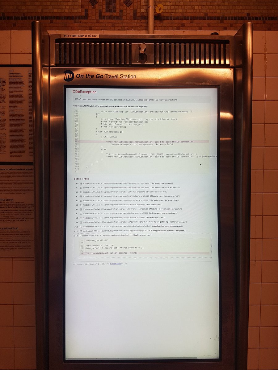 MTA kiosk database error