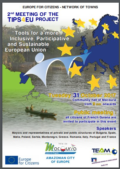 #PERFA-973 #French #Guiana+#Macouria will receive from 30th Oct to 3rd Nov 2nd Meeting #TIPS4EU #Guyane @Elysee @EmmanuelMacron @JunckerEU<br>http://pic.twitter.com/JeYqoHv8Vy