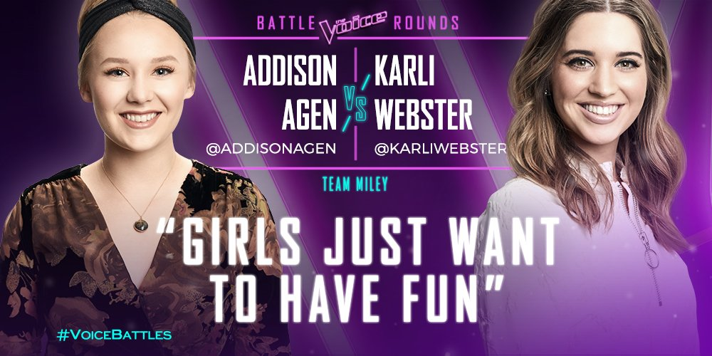"Are you cheering for @AddisonAgen or @karli_webster during their performance of ""Girls Just Wanna Have Fun"" by@cyndilauper ?#VoiceBattles"