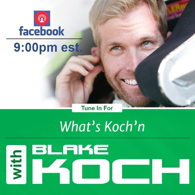 Do you know what time it is? Head over to @BlakeKochRacing&#39;s @facebook fan page at 9PM for #FacebookLIVE #NASCAR #WhatsKochN<br>http://pic.twitter.com/mqNxjXLi2M