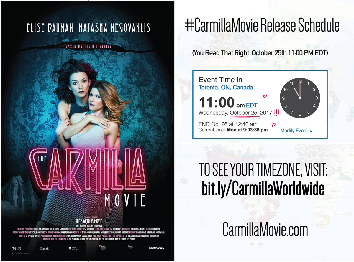 carmilla series on twitter dying to know what time the