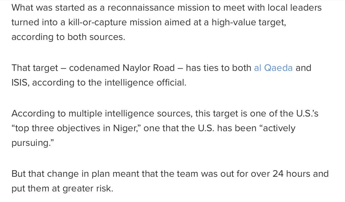 ABC News: Soldiers in Niger were out on recon, but redirected to kill-or-capture mission aimed at high-value target. https://t.co/sYqWwvq2BS