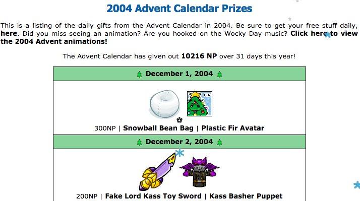 Advent calendar neopets 2018 prizes