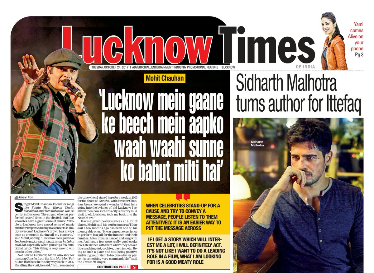 When celebrities stand-up for a cause, people listen 2 them attentively: @_MohitChauhan   #bollywood #lucknow #MohitChauhan #saddahaq #TOI <br>http://pic.twitter.com/hLlELyPl33