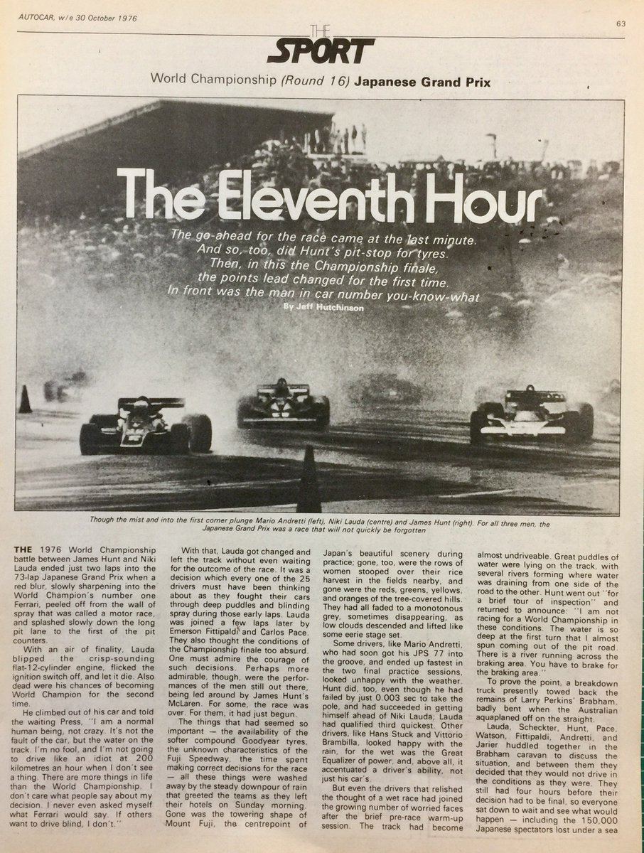 How @autocar reported on James Hunt&#39;s Formula 1 world title win for #McLaren in October 1976. #jameshunt #f1 #japan #OTD<br>http://pic.twitter.com/s2P67tGrSd