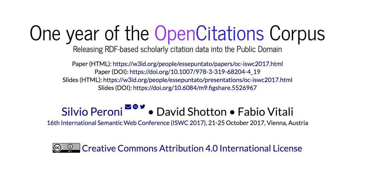 About to present #OpenCitations and its Corpus at #ISWC2017 in Vienna! #SemPub #openscience #opendata #I4OC #CC0  https:// w3id.org/people/essepun tato/presentations/oc-iswc2017.html &nbsp; … <br>http://pic.twitter.com/AniaaCSUe0