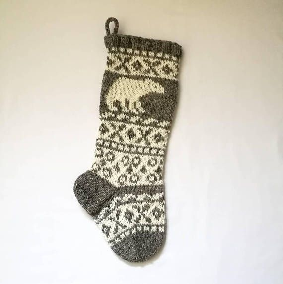 20&quot; long pure wool Christmas stocking with polar bear  https:// buff.ly/2kYXCgM  &nbsp;   #GreyChristmas #PolarBear <br>http://pic.twitter.com/nT9RILptCw
