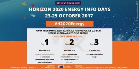 Discover #H2020 funding opportunities for #energyefficiency tomorrow at #H2020Energy Info Days. Watch live webcast:  http:// europa.eu/!xu38WT  &nbsp;  <br>http://pic.twitter.com/vaAyGlfSpJ
