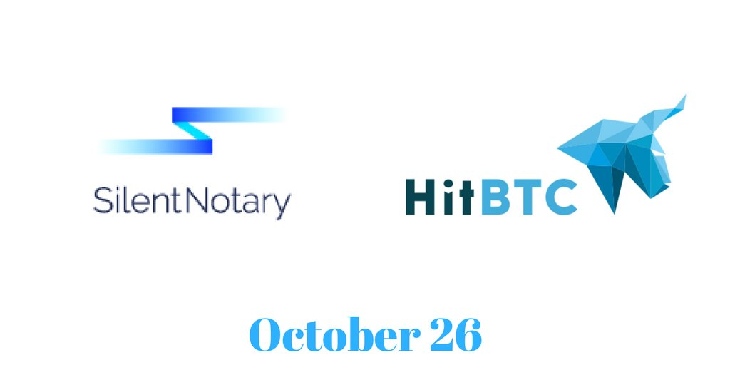 NEWS ALERT: #SilentNotary will be listed on #hitbtc.  More #news to come, as we approach #ICO #October26. Join #SilentNotary on Telegram.<br>http://pic.twitter.com/3uNZAgRkGq
