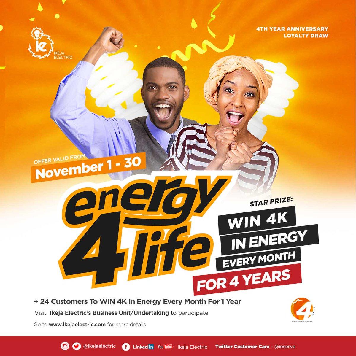 "Ikeja Electric sets to reward Customers in its ""Energy4Life"" 4th anniversary reward scheme"