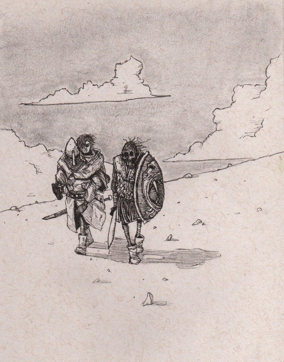 Todays #sketch &quot;Exhausted #necromancer and associates&quot; #inktober #fantasy #fantasyart #dnd #dndart #rpg #illustration #undead <br>http://pic.twitter.com/8h4KQfkhOH